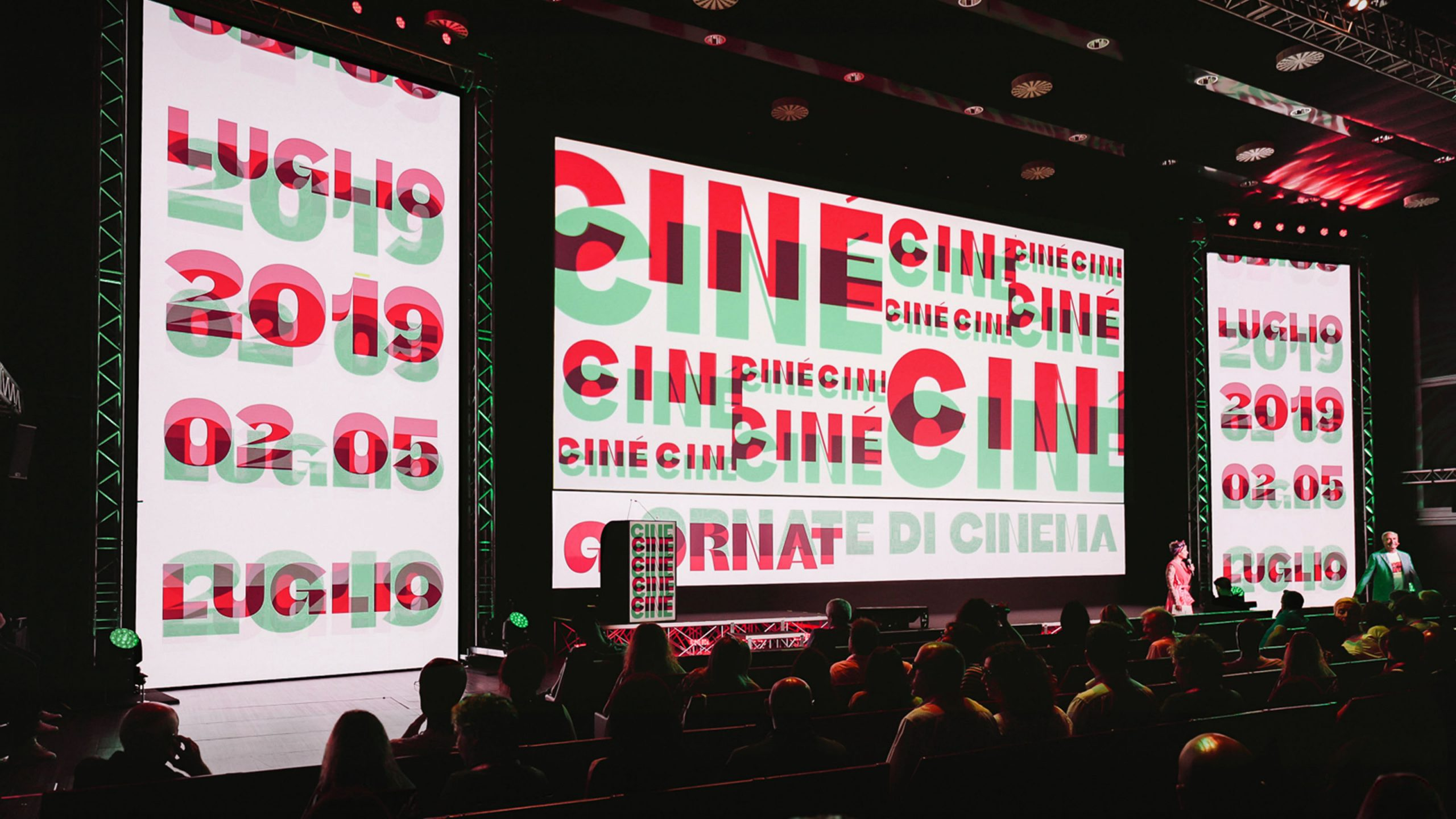 Typographically driven identity for Ciné festival<br />Digital graphics, environmental, print & Adv.